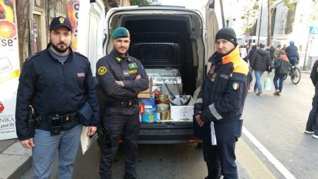 merce sequestrata blitz: polizia, carabinieri, guardia finanza, municipale, forestale